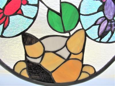 ステンドグラス テーブル 金魚 猫