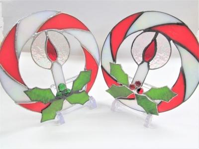 ステンドグラス体験 クリスマスリース 蝋燭