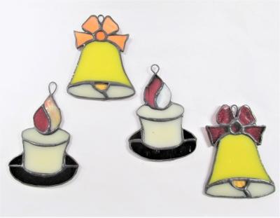 ステンドグラス クリスマス ベル 蝋燭
