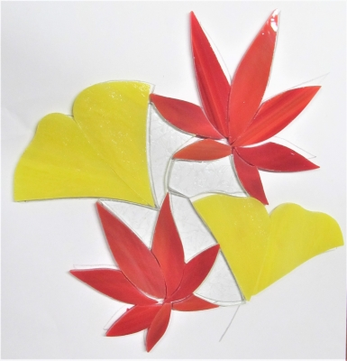 ステンドグラス 紅葉と銀杏