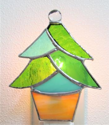 ステンドグラス クリスマスツリー フットランプ