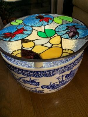 ステンドグラス 猫 金魚 テーブル 火鉢