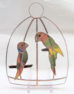 ステンドグラス 鳥 インコ