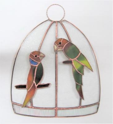 ステンドグラス 小鳥 鳥かご