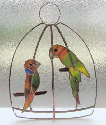 鳥 ステンドグラス 鳥籠