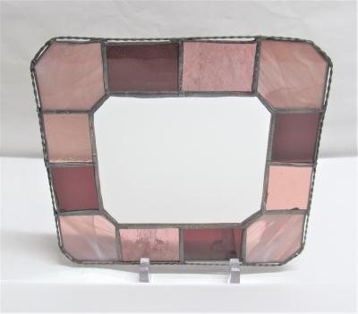 ステンドグラス 鏡 パープル