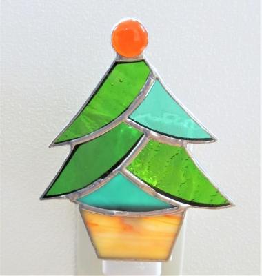 ステンドグラス クリスマスツリー足下ランプ
