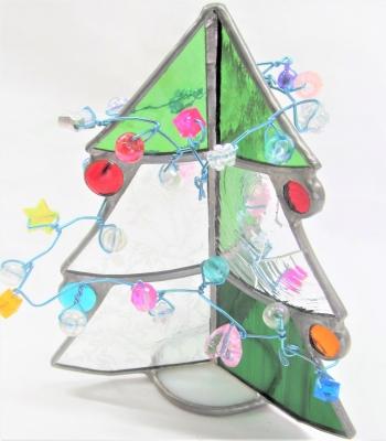 ステンドグラス体験 小学生 クリスマスツリー