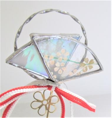 ステンドグラス 桜 扇