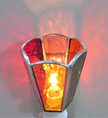 ステンドグラスランプ 六面体のフットランプ