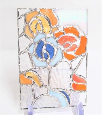 ステンドグラス 薔薇のパネル
