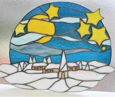 ステンドグラス雪 星 風景