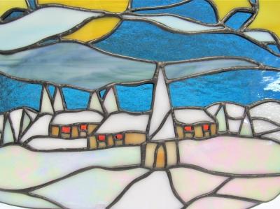 ステンドグラス雪 風景 星