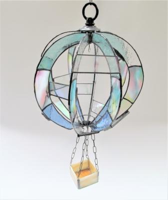 ステンドグラス気球 植木鉢カバー
