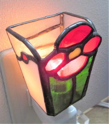ステンドグラス フットランプ 花