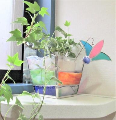 ステンドグラス ガーデンピック 羽根