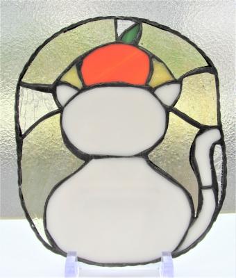 ステンドグラス お供え餅 鏡餅 猫