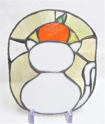 ステンドグラス 猫 ネコ 鏡餅