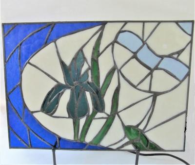ステンドグラス 時計 燕子花