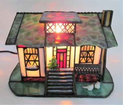 ステンドグラスランプ 家 ハウス