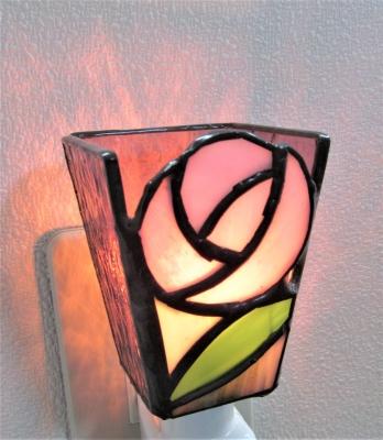 ステンドグラス薔薇 バラ 足元ランプ