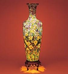ステンドグラス ランプ 壺 花