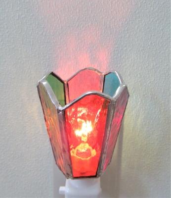 ステンドグラス体験 六面体のフットランプ