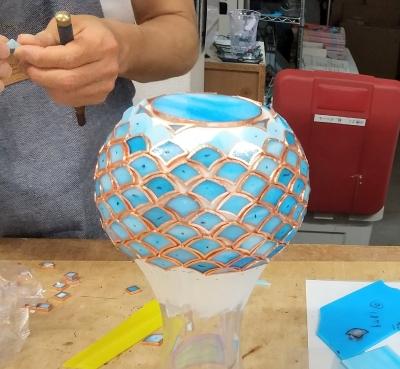 ステンドグラス ガラスモザイク キャンドルホルダー