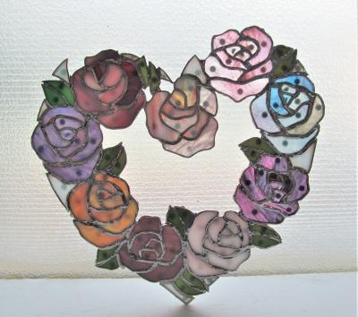 ステンドグラス 薔薇 バラ リース