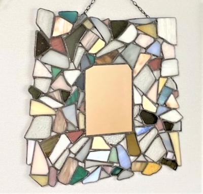 ステンドグラス モザイク 鏡