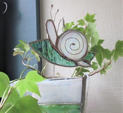ステンドグラス カタツムリ かたつむり ガーデンピック