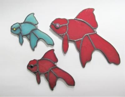 ステンドグラス 金魚 サンキャッチャー