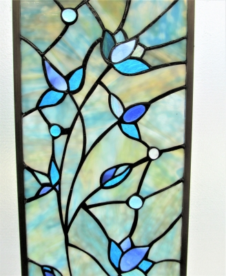 stained glass窓 青