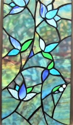 ステンドグラス 窓 青 花