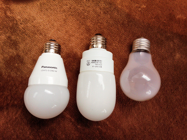 大きさ LED電球 電球型蛍光灯 白熱電球