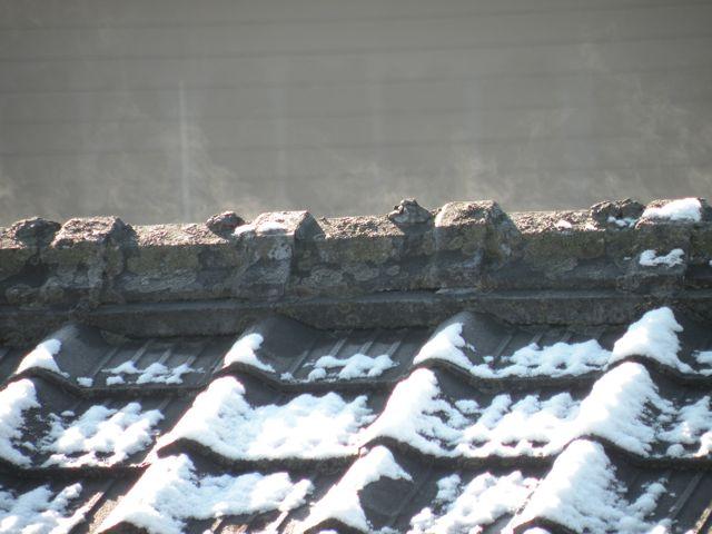 雪景色 屋根から湯気