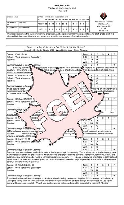 カナダの高校 成績表 受取日 04