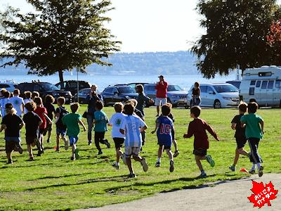 カナダの小学生のクロスカントリーレース