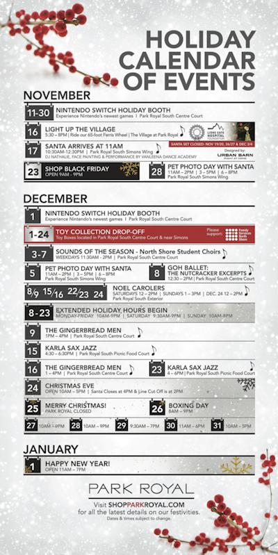 ショッピングセンターの冬のカレンダー