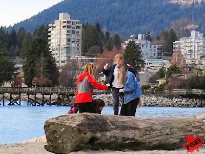 海岸でゴミ拾いする環境クラブの生徒たち