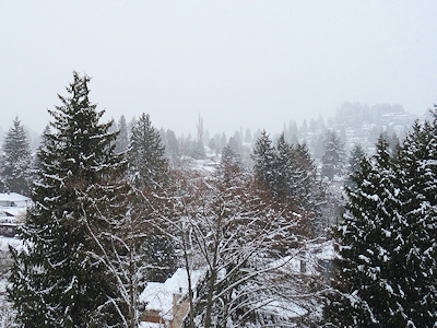 雪景色のウエストバンクーバー