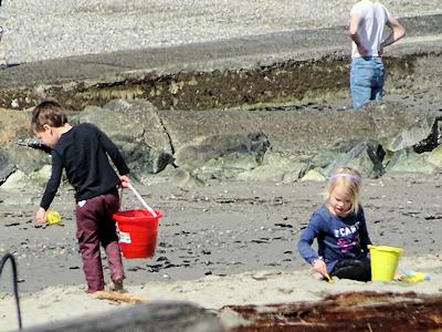 海岸で砂遊びする子供