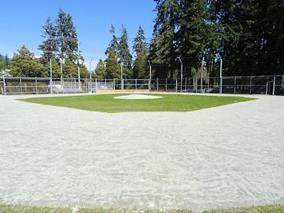 新しい土を入れた野球場