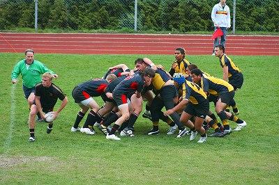 ラグビーの試合(カナダの高校)