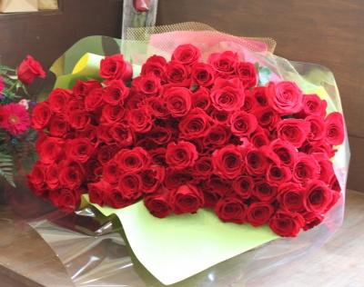99本 赤バラ 花束 永遠の愛 いわき市 小名浜の花屋 花国湘南台店