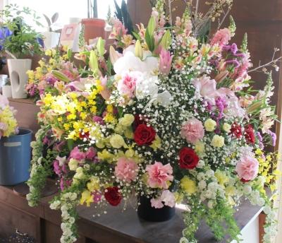 お祝いのスタンド花 開店祝い コンサート いわき市 小名浜の花屋 花国湘南台店