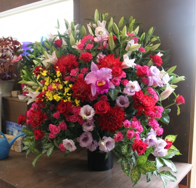 お祝い スタンド花 開店祝い いわき市 小名浜の花屋 花国湘南台店