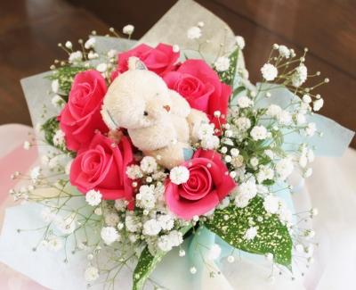 お祝い お花 くまさん 花束 いわき市 小名浜の花屋 花国湘南台店