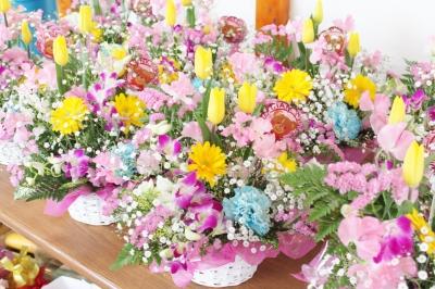 送別会 アレンジ お花 バック いわき市小名浜の花屋 花国湘南台店
