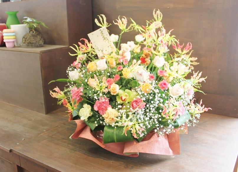 お祝い花、アレンジ、誕生日、開店祝い、いわき市小名浜の花屋,花国湘南台店